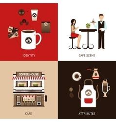Coffee House Flat Set vector image