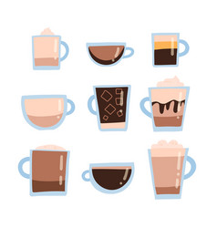 coffee set types for menu flat vector image