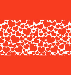 color red hearts horizontal chaotic seamless vector image