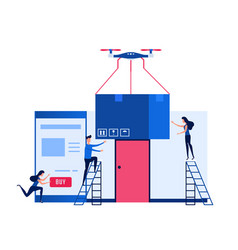 concept of online shopping and drone delivery vector image