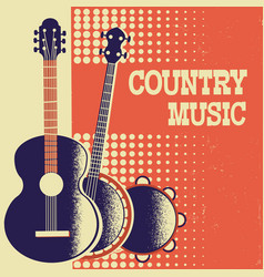 Country music poster background with musical vector