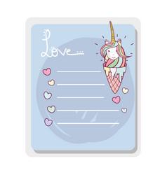 Cute card ice cream unicorn with mane long vector