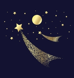 Decorative gold stars and the moon on a dark backg vector