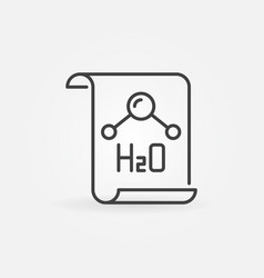 Document with h2o text icon in thin line vector