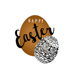 Easter eggs banner postcard inscription happy vector