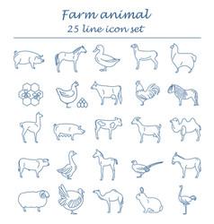 Farm animal thin line collection 25 icon set flat vector