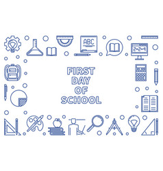 First day school concept horizontal frame vector