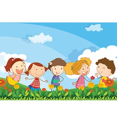 Five adorable kids playing at garden vector