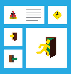 Flat icon emergency set of open door entry vector