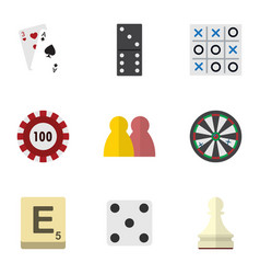 flat icon entertainment set of ace mahjong bones vector image