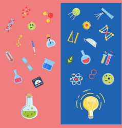 flat style science icons lightbulb concepts vector image