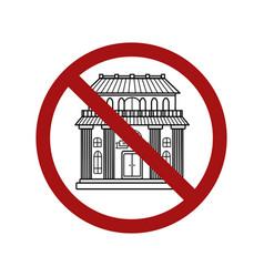 Forbidden access to public places contour vector