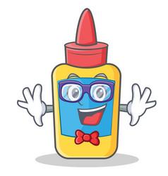 Geek glue bottle character cartoon vector