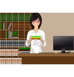 Girl with books vector