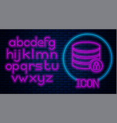 glowing neon server security with closed padlock vector image