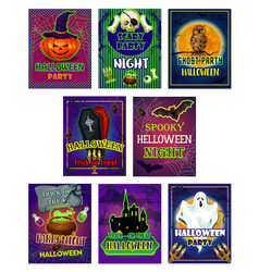Halloween horror night party invitation card vector