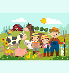 Happy farmer and kids with farm animals vector