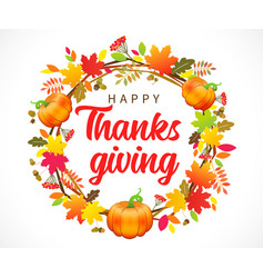 happy thanksgiving lettering with wreath pumpkin vector image