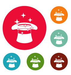Hat with a star icons circle set vector