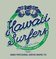 Hawaii surfers grunge effect on separate layer vector image