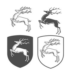 heraldic shields with dear vector image
