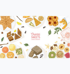 horizontal banner template with oriental sweets vector image