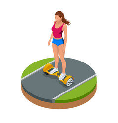Isometric girl riding on hover board or vector