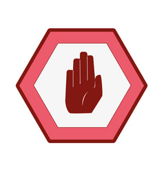 line color warning metal notices with stop sign vector image
