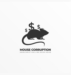 logo mouse corruption silhouette style vector image