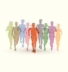 marathon runners men and women running vector image