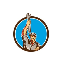Mechanic Raising Up Spanner Circle Retro vector image