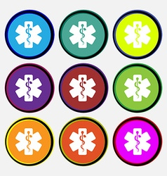 Medicine icon sign Nine multi colored round vector image