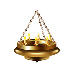Medieval chandelier on chain isolated vector