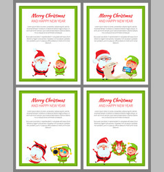 merry christmas placards vector image