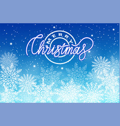 merry christmas postcard with snowflakes isolated vector image