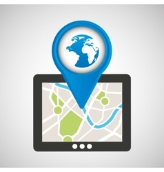 Mobile device globe gps map vector