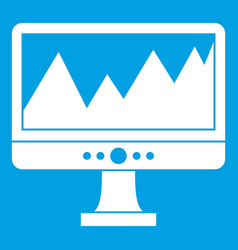 Monitor and a chart icon white vector
