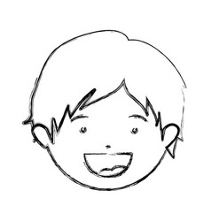 Monochrome hand drawing contour of smiling boy vector