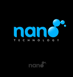 nano logo letter o molecule blue science hi tech vector image