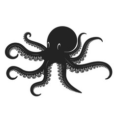 octopus in engraving style design element vector image