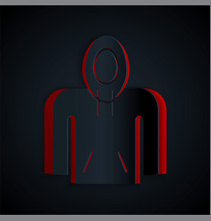 Paper cut hoodie icon isolated on black background vector
