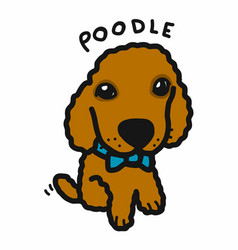 Poodle dog cartoon doodle style vector