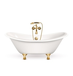 Realistic retro bathtub icon vector