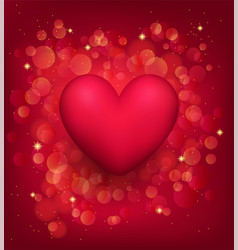 Red 3d heart on a festive romantic background vector