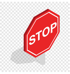 red traffic stop sign isometric icon vector image vector image