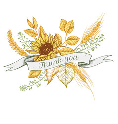 ribbon design of sunflower and rye with thank you vector image