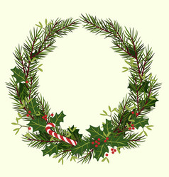Round christmas frame of fir branches holly and vector