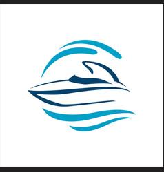 sailing yacht ship boat logo design on water vector image