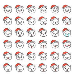 Santa bear emotion face in various expession vector