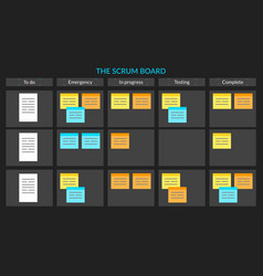 scrum task board with sticky notes for vector image